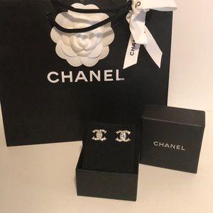 Chanel silver cc earring studs